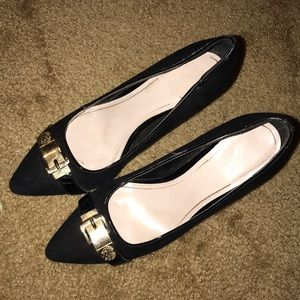 Vince Camuto black heels with gold buckle